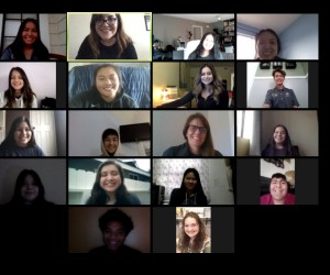 video conference screen with 18 participants