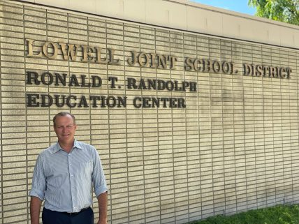 Lowell Joint School District Jim Coombs outside the district's offices