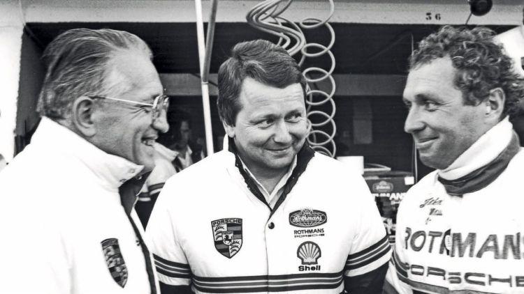 Helmuth Bott, Dr. Wolfgang Porsche, Jochen Mass, l-r, Le Mans, 1982, Porsche AG