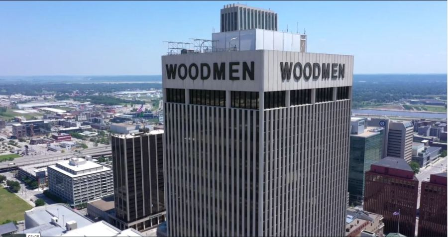 Drone Video: Fly Around WoodmenLife Tower as Letters Come Down