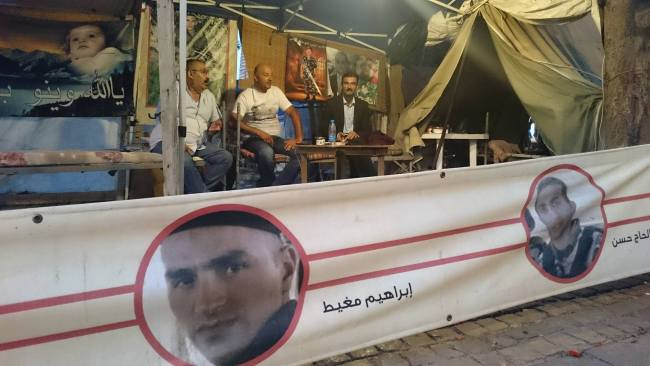Kidnapped soldiers' tent, Riad Solh Square | Source: NewsroomNomad