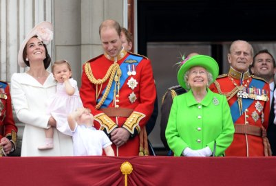 Catherine, Duchess of Cambridge, Princess Charlotte of Cambridge, Prince George, Prince William, Duke of Cambridge, Prince Harry, Queen Elizabeth ll and Prince Philip, Duke of Edinburgh stand on the balcony of Buckingham Palace following the Trooping of the Colour ceremony in London which marks The Queen's official 90th birthday, London. Picture credit should read Doug Peters/EMPICS Entertainment