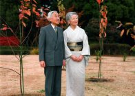 In this handout photo taken December 1, 2008 and released by Imperial Household Agency December 23 shows Japanese Emperor Akihito and Empress Michiko pose for a photograph in the East Gardens of the Imperial Palace in Tokyo. Japanese Emperor Akihito turned 75 on December 23, 2008, pledging to work for the betterment of the imperial family as his worries about the state of the world's oldest monarchy inflict a toll on his own health. AFP PHOTO/Imperial Household Agency/HO RESTRICTED TO EDITORIAL USE NO MAGS NO SALE