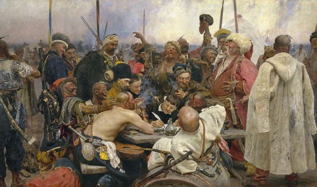 """Today's symbolic remake of the famous painting by Illya REPIN which now could be titled in such a way: """"Reply of the Ukrainian Heroes to Khan Vladimir the Sick Prick""""."""