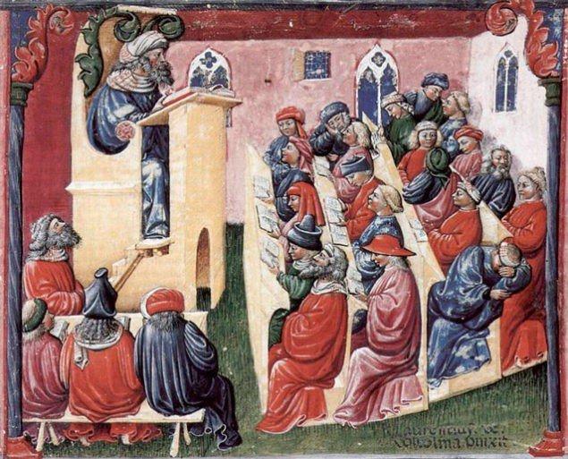 Так, за свідченням тогочасного художника, починав працювати найстаріший у світі Болонський університет.