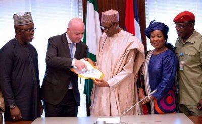 FIFA Infantino and Pres. Buhari 1 e1469471280952 - Photo: Pres. Buhari met with FIFA Infantino, host former Pres. Obasanjo,