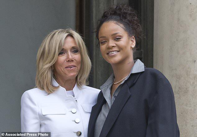 bridget and rihanna - Rihanna, Macron champion millions for global education