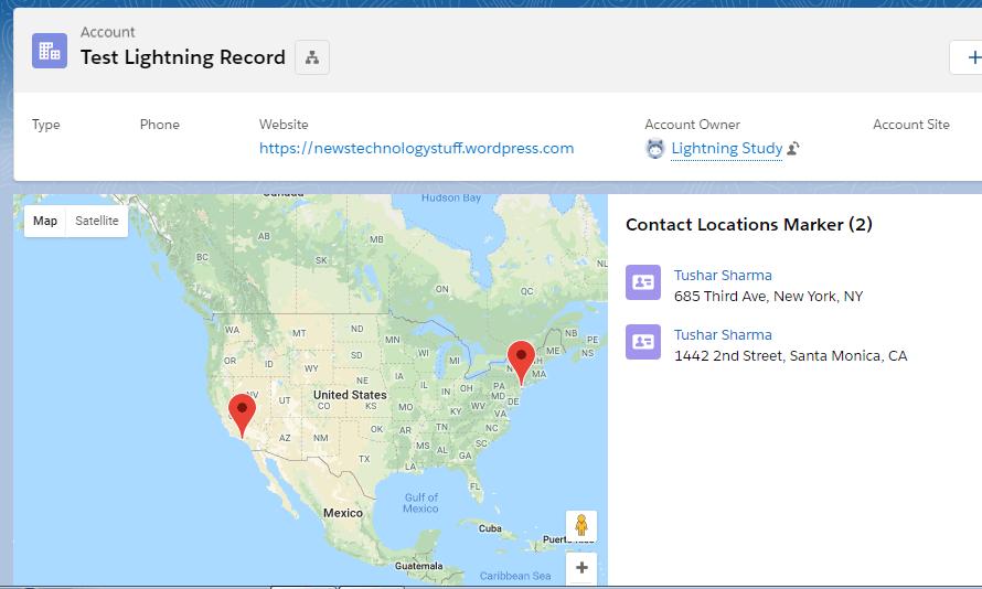 Lightning map show Contact on Parent account
