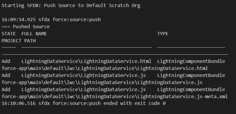 Push code to default org in Lightning Web Components (LWC)