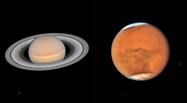 Hubble Captures Mars and Saturn as They Pass Close to Earth 1