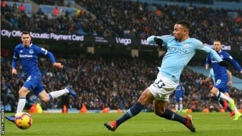 Manchester City 3-1 Everton: Gabriel Jesus & Raheem Sterling put hosts top of Premier League 4