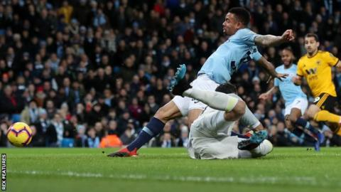 Manchester City 3-0 Wolves: Gabriel Jesus scores twice as City narrow gap on Liverpool 19