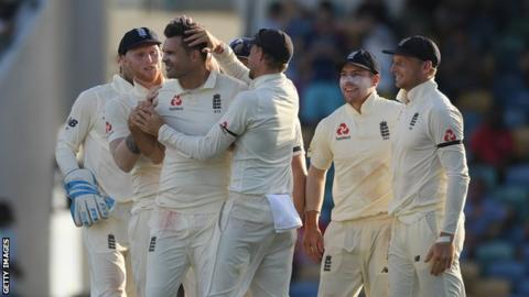 England in West Indies: James Anderson takes four wickets to boost tourists 1