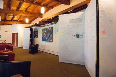 The projects-requests-offers boards in the Universal Hall foyer