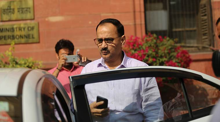 CBI Chief Alok Verma leavs the Home Ministry after a meeting in New Delhi on tuesday. The CBI chief works from the North Block every Tuesdays and Thursdays. Express Photo by Tashi Tobgyal 231018