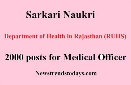 Sarkari Naukri (RUHS) 2000 posts