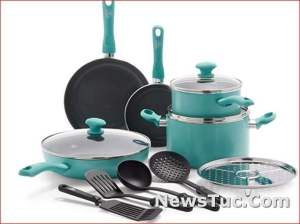 Turquoise Ceramic Nonstick GreenLife 13 Piece, Pots and Pans Cookware Set