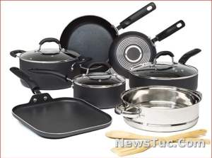 Reinforced Coating Goodful 12-Piece Charcoal Gray Non-Stick Pots and Pans Cookware Set