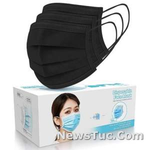 Black Disposable Face Masks 3-Ply Filter Earloop Mouth Cover 50 PCS Face Mask