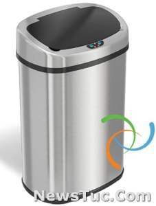 Odor-Absorbing Filter iTouchless 13 Gallon Oval Stainless Steel Touchless Trash Bin