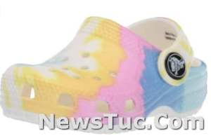 Toddler Little Kid Big Kid Crocs Classic 100% Synthetic Tie-Dye Graphic Clog glitter shoes