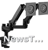 Dual Aluminum Lift Engine Arm Mount Black Computer Monitor Stand