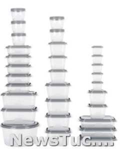 Clear, Grey GoodCook EveryWare 60-Piece BPA-Free Plastic Food Storage Containers