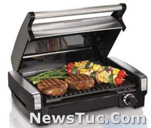 Stainless Steel Easy-To-Clean Nonstick Plate Hamilton Beach Electric Indoor 6-Serving Grill
