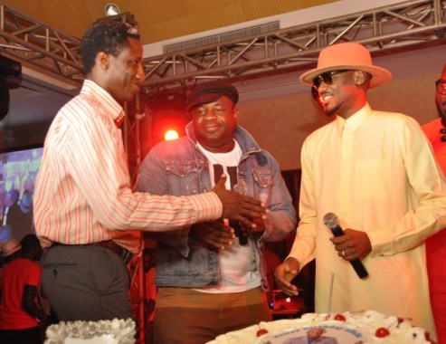 Head, Youth Segment, Segun Aderinokun_ ROD, Lagos, Oladokun Oye with Tuface at the Airtel One Mic All-Stars album launch and Tuface's 40th birthday celebration in Lagos on Friday