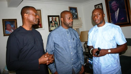 L-R: Sons  of  the deceased, Mr. Spencer Onosode; Mr. Ese Onosode and  Chief Executive Officer, Nigerian Stock Exchange(NSE),Mr. Oscar Onyema during his condolence visit to the family of late Dr. Gamaliel Onosode, First Indigenous Stockbroker on the Nigerian Stock Exchange and Chairman, Board of Trustees for the Investors' Protection Fund in Lagos recently.
