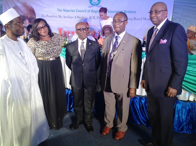 Kayode Okunore (middle), flanked by former Presidents of the Nigerian Council Of Registered Insurance Brokers (NCRIB) at the event.