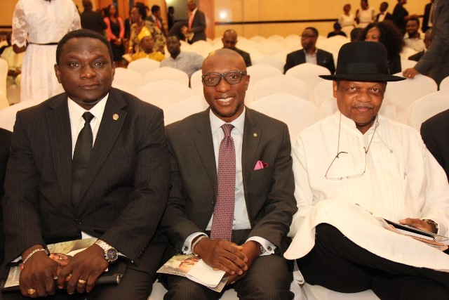 L – R: Mr. Oluwatosin Abe, Acting President, Chartered Institute of Stock Broker (CIS); Mr. Oscar N. Onyema, Chief Executive Officer, The Nigerian Stock Exchange (NSE) and Mr. Atendo Peterside, Chairman, Stanbic IBTC PLC at the Service of Songs & Night of Tributes in honour of Deacon (Dr.) Gamaliel O. Onosode held at Civic Centre, Lagos recently.