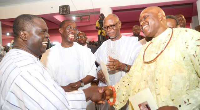 Delta State Governor, Senator Ifeanyi Okowa (2ndleft); APC National Chairman, Odigie Oyegun (2ndright); Chief Otega Emerhor (right) and Chief of Staff, APC National Chairman, Edwin Ikhimwin, during the burial ceremony of Late Gamaliel Onorode, held at First Baptist Church, Market Road, Ughelli