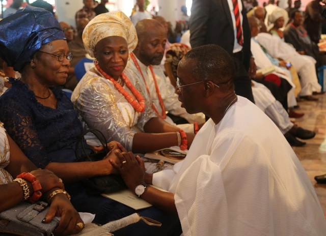 Delta State Governor, Senator Ifeanyi Okowa (right) and the wife of Later Gamaliel, Mrs. Susan Onorode (left), during the burial ceremony of Late Gamaliel Onorode, held at First Baptist Church, Market Road, Ughelli