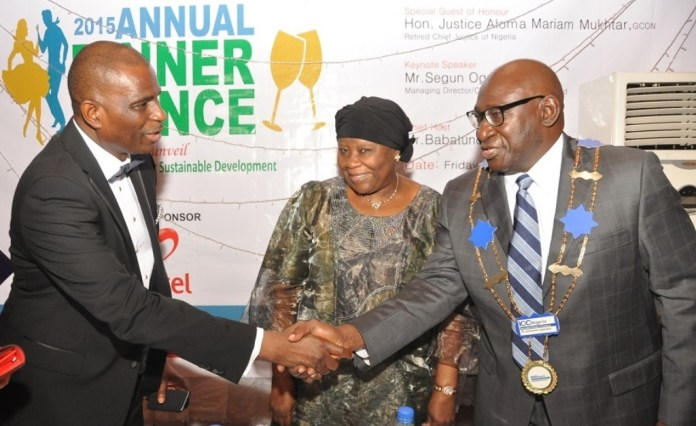 L-R: MD/CEO, Airtel Nigeria, Segun Ogunsanya; former Chief Justice of Nigeria (CJN), Hon. Justice Aloma Mukhtar (GCON) and Mr. Babatunde Savage while exchanging pleasantries at the 2015 Annual Dinner & Dance of ICC Nigeria held in Lagos…..recently