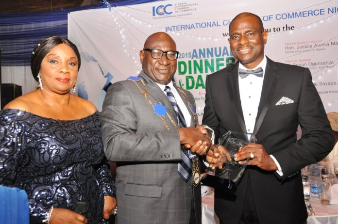 L-R: PIX 2. ICC Nigeria Treasurer, Dorothy Ufot (SAN); Board Chairman, ICC Nigeria, Babatunde Savage while presenting a recognition/appreciation award to MD/CEO, Airtel Nigeria, Segun Ogunsanya who was the Keynote at the 2015 Annual Dinner& Dance of ICC Nigeria in Lagos…recently