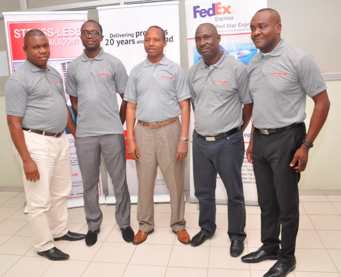 L-R: Mr. Vincent Ihemenwa,  General Manager, Finance & Planning; Mr. Mohammed Isah Panti, General Manager, Operations & Services; Mr. Sule Umar Bichi, Managing Director; Mr. Nasir Turaji, COO, and Mr. Victor Ukwat, General Manager, Sales, all of RedStar Express Plc, during a media round table session in Lagos…..recently