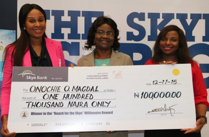 "Skye Bank presents Cheques to ""Reach For The Skye Millionaire"" winners"