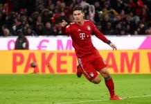 Rodriguez treble helps Bayern retain top spot