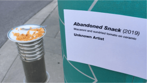 Abandoned macaroni and cheese in downtown Kitchener turned into art installation; is then stolen