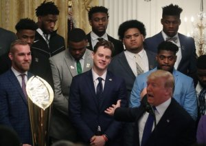 "Trump's visit with the LSU football team: ""They're trying to impeach the son of a bitch."""