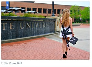Kent State's 'Gun Girl' confronted by protesters at Ohio University