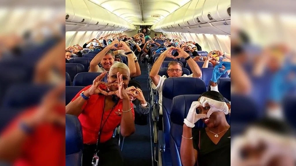 This sweet photo of health care workers flying to New York is what we need right now