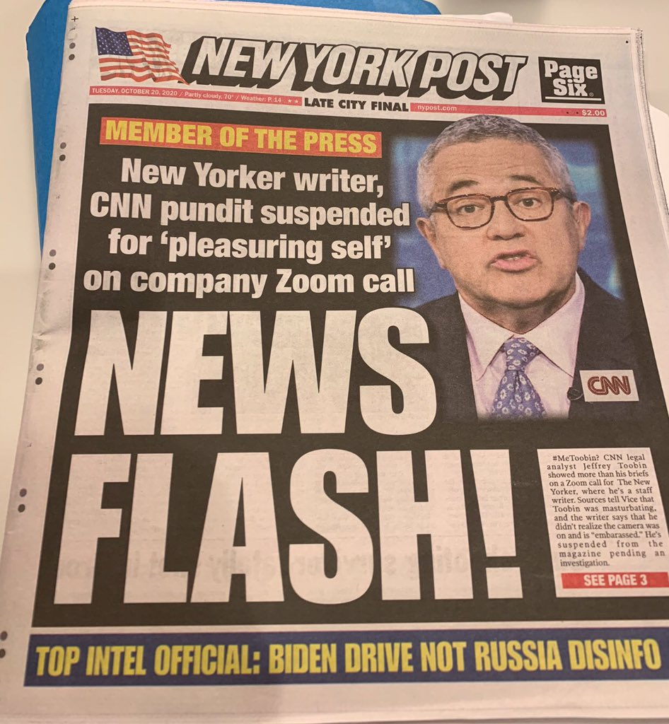 New Yorker suspends Jeffrey Toobin for  masturbating on Zoom call!