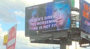 Billboard in SW PA accuses Biden of dementia; misspells dementia