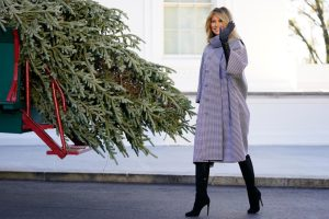 Maskless Melania gets her last Christmas tree at the People's House