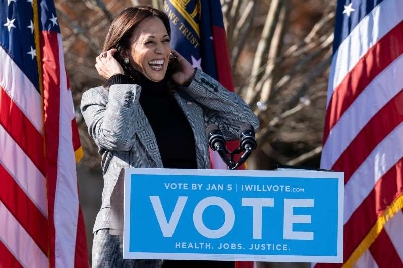 Kamala Harris blasts Trump's call to Raffensberger in return to Georgia to help clinch Senate runoff races