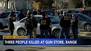 Three killed, two injured as gunman fires in Louisiana gunstore; public fires back.