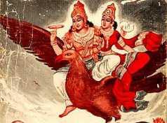 Vishnu und Lakshmi reiten auf Garuda