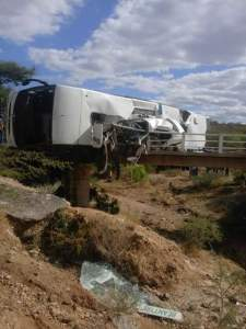 The bus involved in an accident in Mozambique.